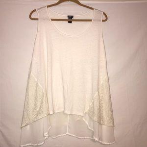Cotton, lace & Chiffon Ivory Tank